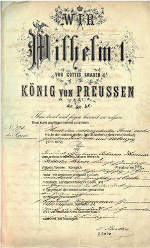 Ehevertrag zwischen Friedrich Niggemann und Bertha Bockemühl von 1872 mit Transkription