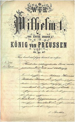 Ehevertrag zwischen Friedrich Niggemann und Bertha Bockemühl von 1872