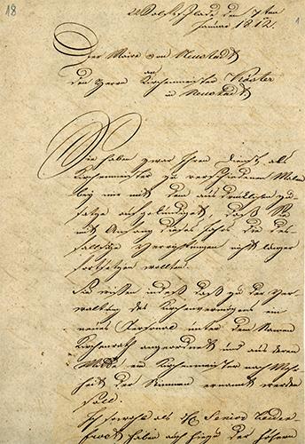 Brief des Maire Peter Weuste von Bergneustadt an den Kirchenmeister Peter Koester