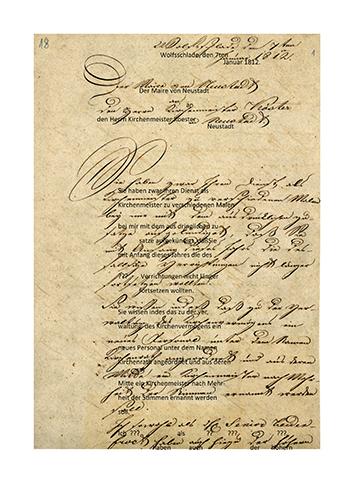 Brief des Maire Peter Weuste von Bergneustadt an den Kirchenmeister Peter Koester mit Transkription